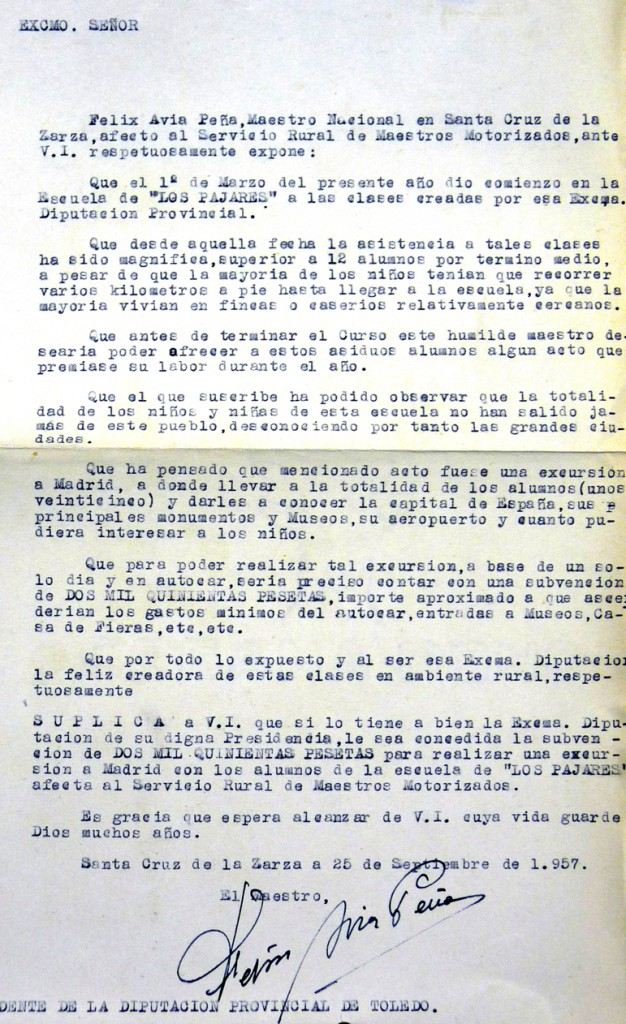 Solicitud de subvención para excursión a Madrid (1957)