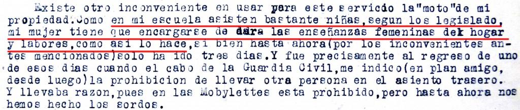 Carta de D. Félix Avia al Servicio de Maestros Motorizados