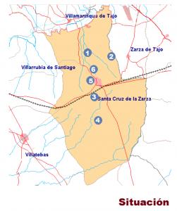 1-. Sótano de la Caracha. 2.- Sótano Carralero. 3.- Chozo Lisundi. 4.- Chozo del Alto del Campo. 5.- Cueva Santa Lucia- 6. Puente del Cambrón